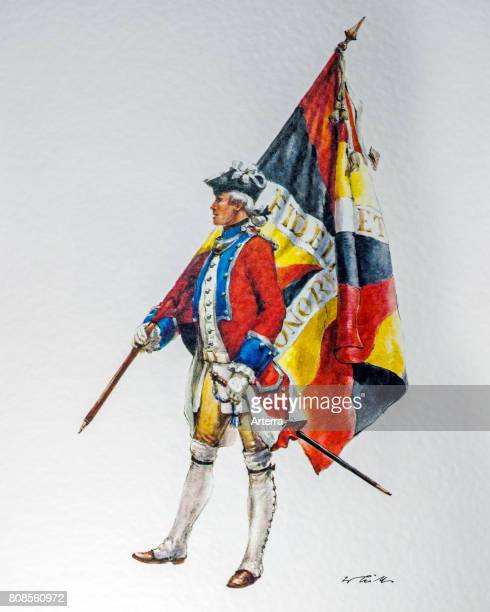 Soldier with flag of the Swiss confederation DiesbachFŠhnrich regiment in royal French service Switzerland