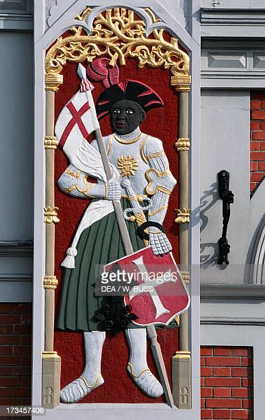 Soldier with shield and banner decoration from the House of the Blackheads Riga Latvia