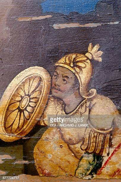 Soldier with shield helmet and armor icon dating back to 1890 Prodromi monastery Crete Greece