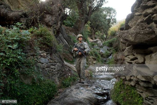 Soldier with the 182nd Airborne conducting a mission in Kunar Province Afghanistan