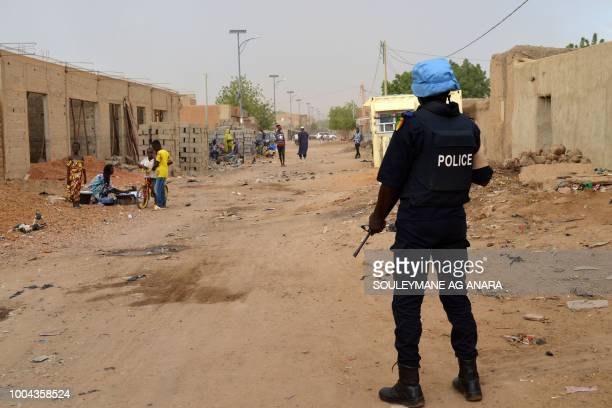 UN soldier with the Senegalese contingent of the United Nations Multidimensional Integrated Stabilisation Mission in Mali patrols the streets of Gao...