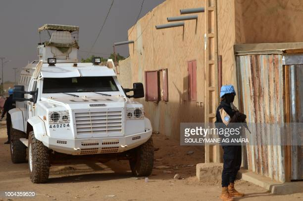 A UN soldier with the Senegalese contingent of the United Nations Multidimensional Integrated Stabilization Mission in Mali patrols the streets of...