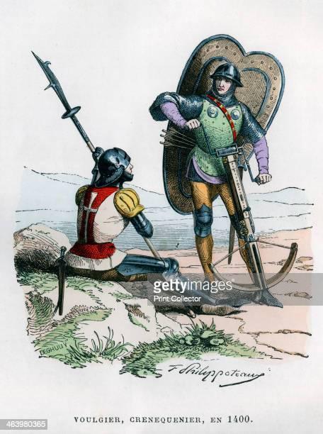 Soldiers 1400 A halberdier and a crossbowman A print from La France et les Français à Travers les Siècles Volume II F Roy editor A Challamel...