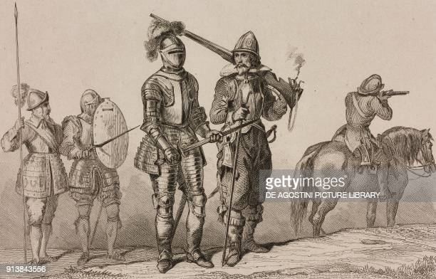 Soldiers 17th century costumes England United Kingdom engraving by Lemaitre from Angleterre volume III by Leon Galibert and Clement Pelle L'Univers...