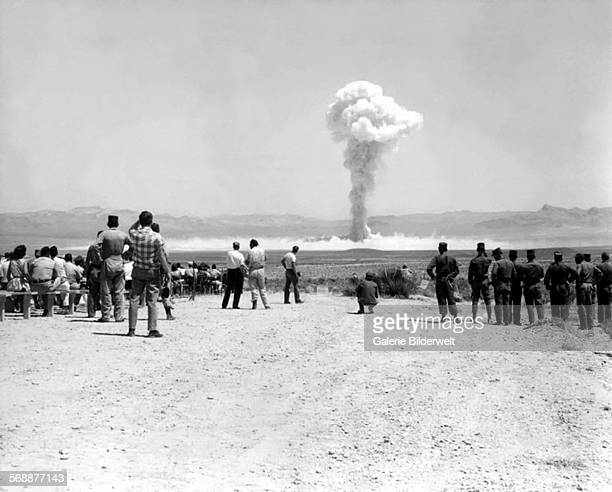 Soldiers and cameramen near the Small Boy nuclear test, part of Operation Sunbeam also known as Operation Dominic II. Nevada, 14th July 1962.