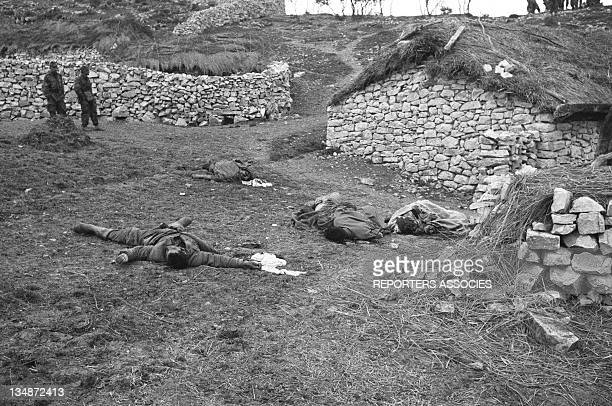 Soldiers and dead bodies in a village during the 'Operation Bigeard' in March 1956 when an armed outbreak in SoukAhras South of Constantine region...