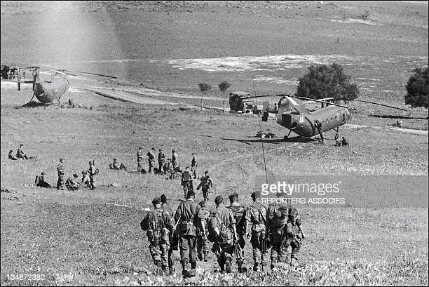 Soldiers and helicopters during 'Operation Bigeard' in March 1956 when an armed outbreak in SoukAhras South of Constantine region Algeria led to the...