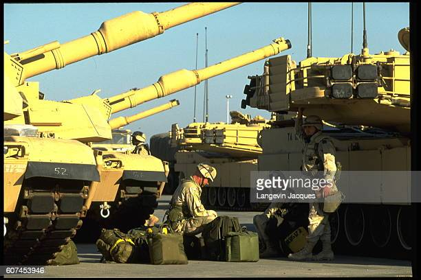 Soldiers and M1 Abrams tanks at Camp Doha