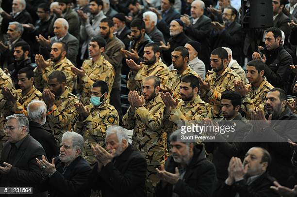 Soldiers and members of the Revolutionary Guard are among several thousand Iranians attending Friday prayers in Tehran Iran on January 29 2016 Since...