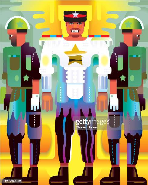 soldiers and military dictator standing in uniform abstract illustration - fascism stock pictures, royalty-free photos & images
