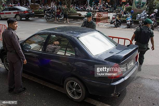 Soldiers and police patrol the area around Wat Doi Suthep a popular temple among both locals and tourists on August 19 2015 in Chiang Mai Thailand On...