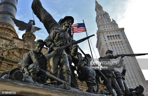 soldiers and sailors monument in cleveland, ohio, usa - war memorial stock pictures, royalty-free photos & images