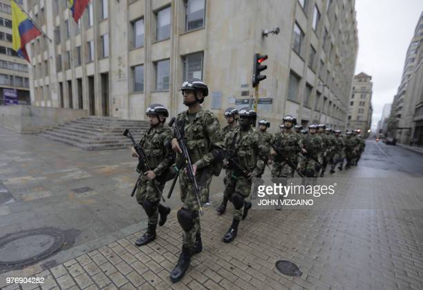 TOPSHOT Soldiers are deployed at Bolivar Square in Bogota during the second round of the presidential elections in Colombia on June 17 2018...