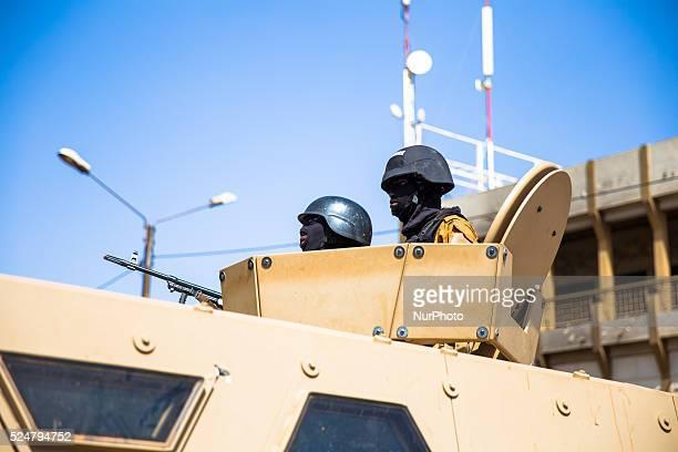 Soldiers are securing the crime scene during visit of Burkina Faso President Kabor�� and Benin President Yayi Boni. Ouagadougou, January 18th 2016....