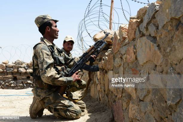 Soldiers are seen after Chaman crossing point closed following the clashes at Pakistan and Afghanistan border in Kandahar Afghanistan on May 05 2017...