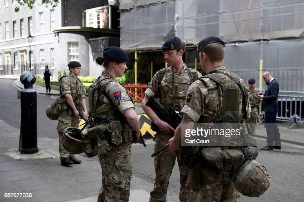 Soldiers are seen at Downing Street on May 24 2017 in London England 984 military personnel are being deployed around the country as the UK terror...