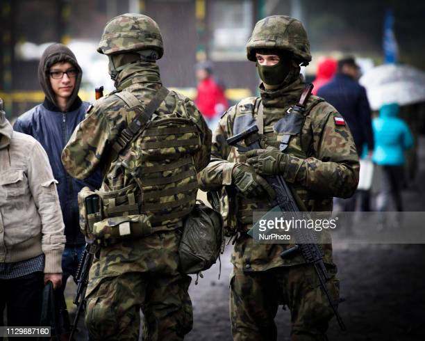 Soldiers are seen at the Army Logistics base in Bydgoszcz Poland on March 9 2019 The local military base organized a public picnic on the occasion of...