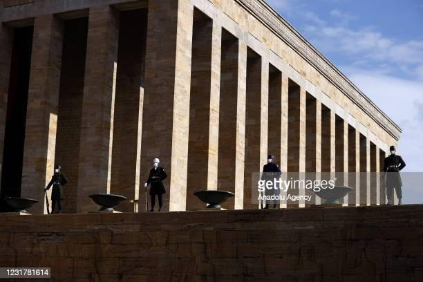 Soldiers are seen during Ankara Governor Vasip Sahin's visit to Anitkabir, the mausoleum of the founder of Turkish Republic Mustafa Kemal Ataturk, on...