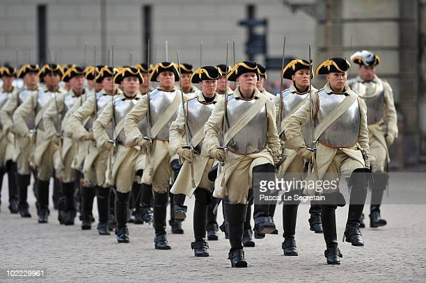 Soldiers are seen outside the Wedding Banquet for Crown Princess Victoria of Sweden and her husband prince Daniel at the Royal Palace on June 19 2010...
