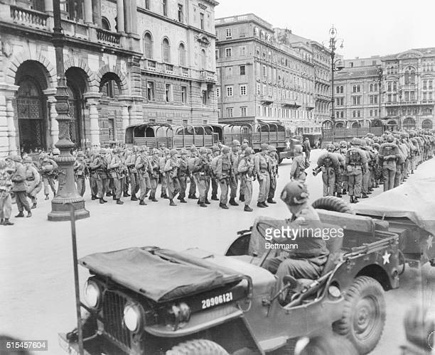 U S soldiers are shown being deployed in Trieste during Italy demonstrations