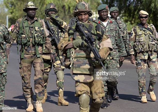 soldiers arrive at the Second Battalion Camp in Farafegny near the frontier with Senegal on January 22 2017 West African troops approached the...