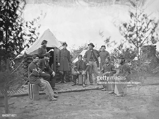 Soldiers at camp during the American Civil War.