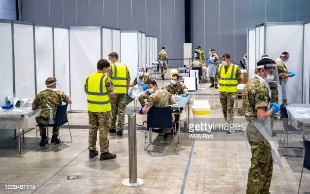 Soldiers at The Exhibition Centre in Liverpool, which has been set up as a testing centre as part of the mass Covid-19 testing on November 6, 2020 in...