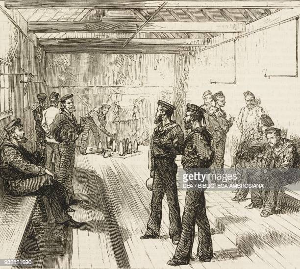 Soldiers at the skittle alley the Soldier's Institute Portsmouth United Kingdom illustration from the magazine The Graphic volume XVIII no 471...