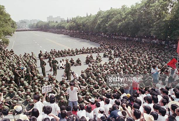 Soldiers at Tiananmen Square Protest