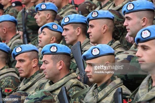 Soldiers attend a farewell ceremony of 66 Albanian soldiers who will depart to serve for six months under the Turkish Military Union in Afghanistan...