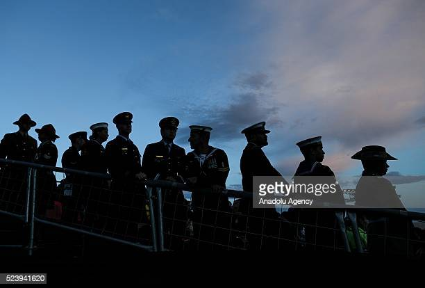 Soldiers attend the Anzac dawn service at Anzac Cove in commemoration of the 101st anniversary of Canakkale Land Battles on Gallipoli Peninsula on...