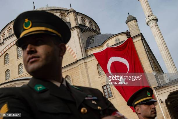 Soldiers attend the funeral of Muhammed Ali Kalo a Turkish soldier who was killed during the operation against Syria's Afrin region in Istanbul on...