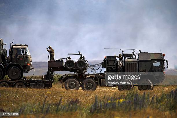 Soldiers attend the international military exercise Capable Logistician 2015 in the Bakony Combat Training Centre of the Hungarian army in the region...