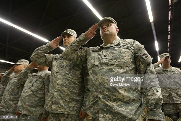 Soldiers attend their farewell ceremony for about 850 California National Guardsmen from the 1st Battalion 185th Armor on August 22 2008 in San...