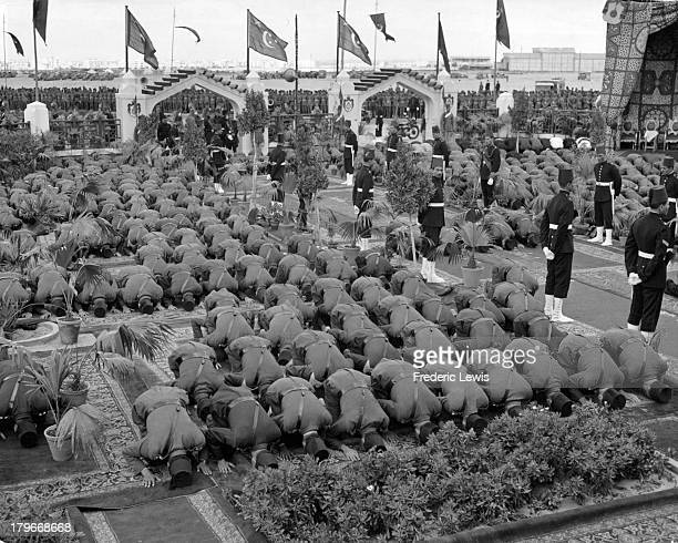 Soldiers attending services at a Mosque with King Farouk in Cairo Egypt