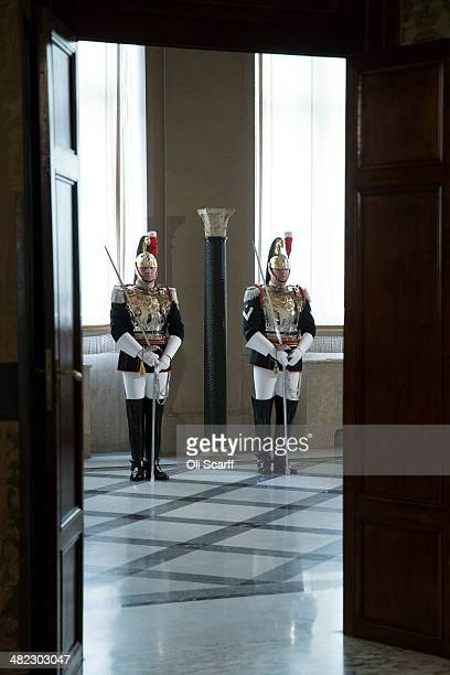 Soldiers await the arrival of Italian President Giorgio Napolitano and Her Majesty Queen Elizabeth II in the 'Sala del Bronzino' of the 'Palazzo del...
