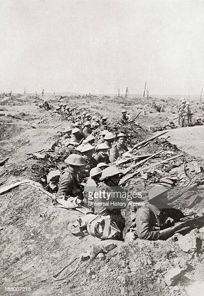 Soldiers Awaiting The Order To Advance On The Somme Heights France During World Ward One From The Year 1916 Illustrated