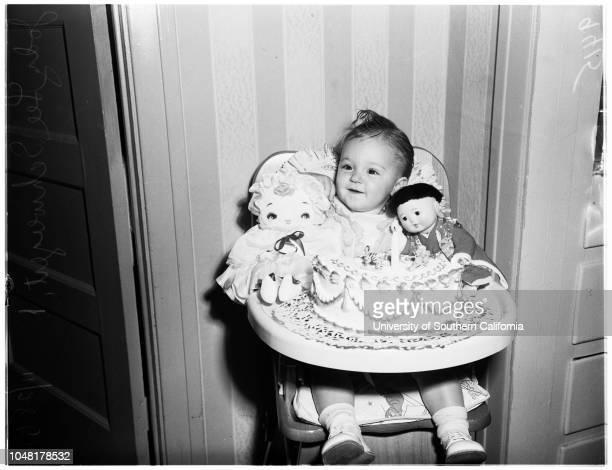 Soldier's Baby 28 November 1951 Jody Lee Schweigert 1 year Jeannine Schweigert 22 yearsCaption slip reads 'Photographer Monteverde Date Reporter...