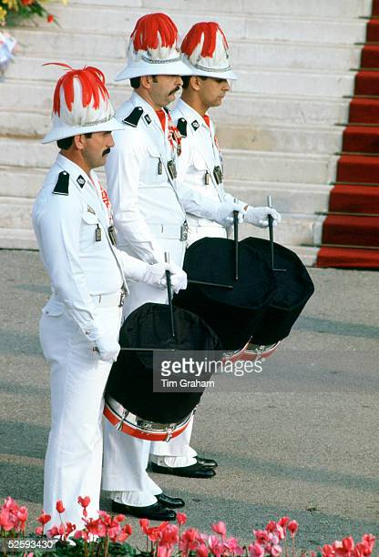 Soldiers beat black muffled drums for mourning outside the Cathedral during the Funeral of Princess Grace wife of Prince Rainier of Monaco September...