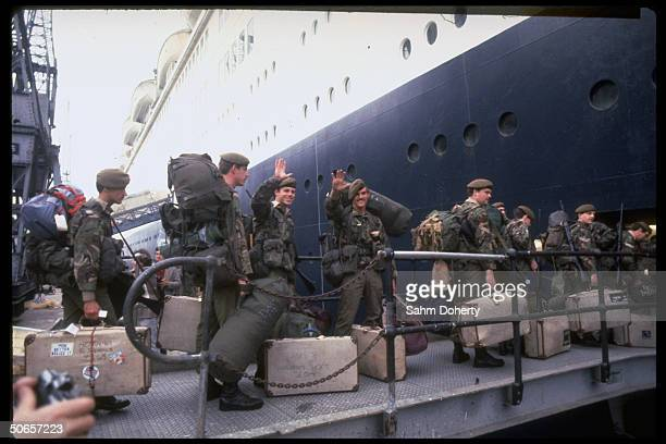 Soldiers boarding QE2 bound for Falklands