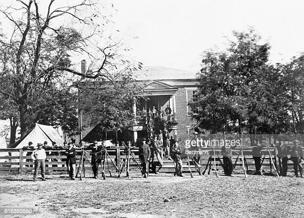 Soldiers camp in front of the Appomattox County Courthouse namesake of Appomattox Court House the town where in a private house General Lee...