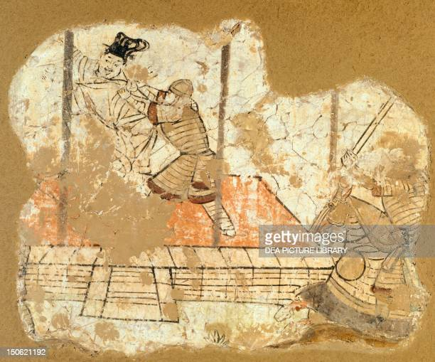 Soldiers capturing a dignitary mural painting from QumturaMingoi China Chinese Civilisation 7th9th century