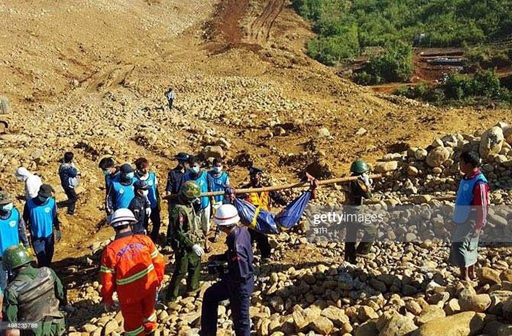 MYANMAR-ACCIDENT-MINING : News Photo
