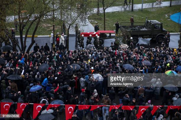Soldiers carry the coffin of Specialized Sergeant Koray Koraca who was martyred within the Operation Olive Branch in Syria's Afrin regionduring the...