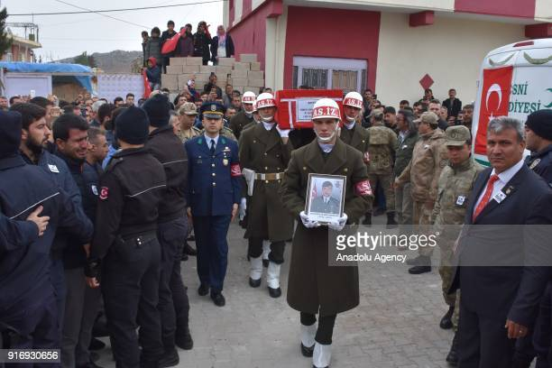 Soldiers carry the flagdraped coffin of Infantry Sergeant Enes Sariaslan who was martyred within the Operation Olive Branch in Syria's Afrin region...