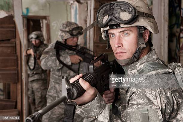 Soldiers Clearing an Abandoned Building