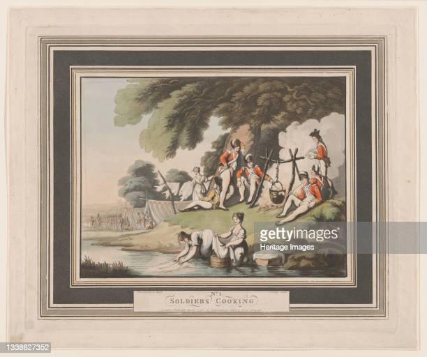 Soldiers Cooking, April 1, 1798. Artist Heinrich Schutz.