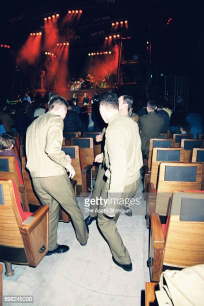 Soldiers dance as a rock concert is held at Kremlin on January 24 1992 in Moscow Russia