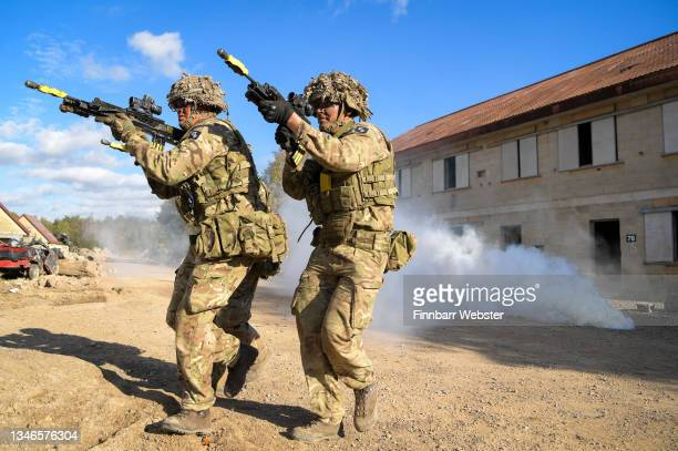 Soldiers demonstrate the EXO Insight glasses which are an eye tracking virtual behaviour monitoring system on October 14, 2021 in Salisbury, England....