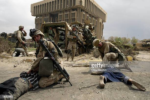 S soldiers detain suspected thieves April 15 2003 in Baghdad Iraq The US military presence has shifted to policing in an attempt to stabilize the...